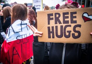 working for free hugs